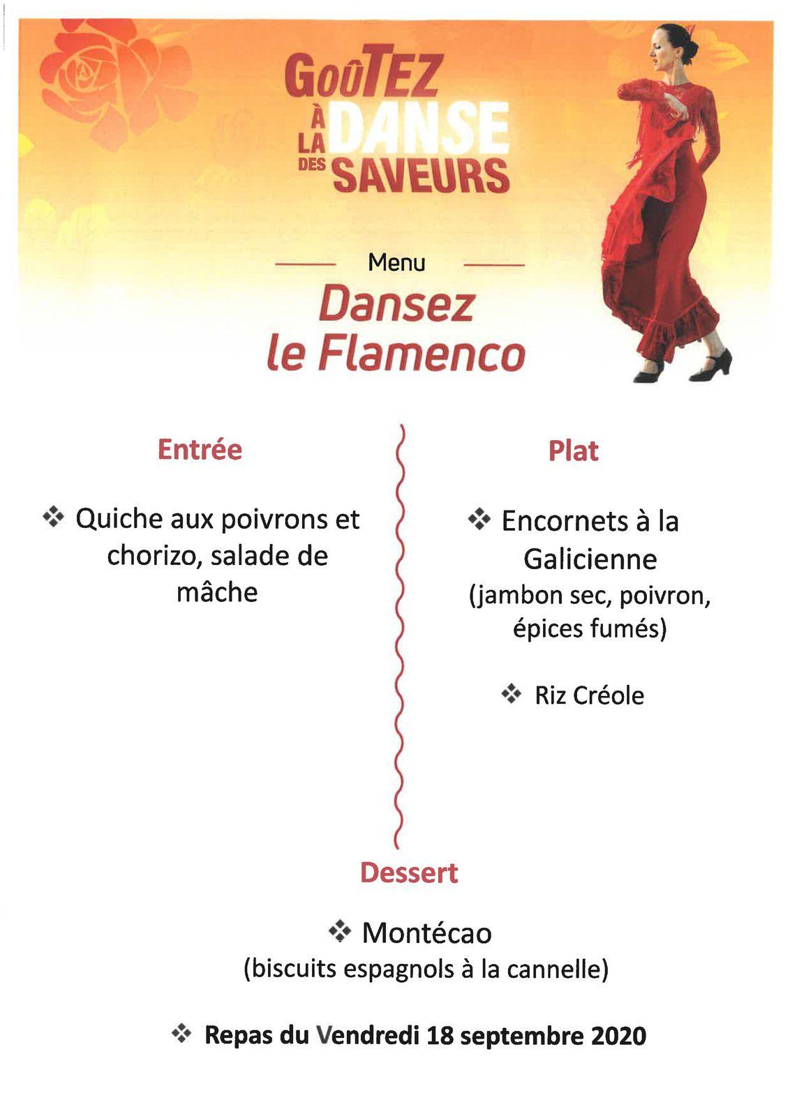 """Repas à thème """"Menu Dansez le Flamenco"""", le vendredi 18 septembre 2020"""