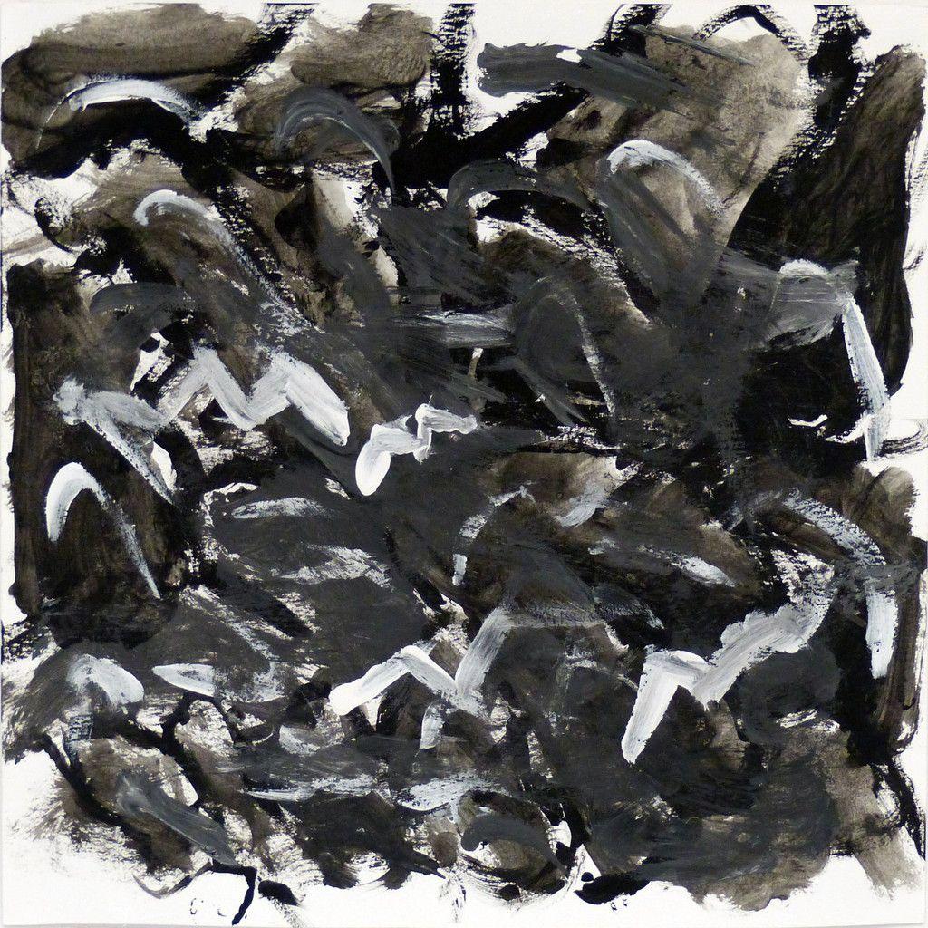 """Barnabé : """" Pour peindre « Ciel d'orage », j'ai utilisé des tons foncés de teinte principalement grise. J'ai utilisé le blanc pour peindre ce qui les éclairs, ce qui créée un contraste et beaucoup de nuances. J'ai créé un dégradé en faisant en sorte que l'intérieur soit plus foncé que l'extérieur. Précisons que certains de mes gris ont la même valeur. """""""