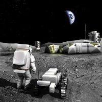 Vue d'artiste d'une base lunaire