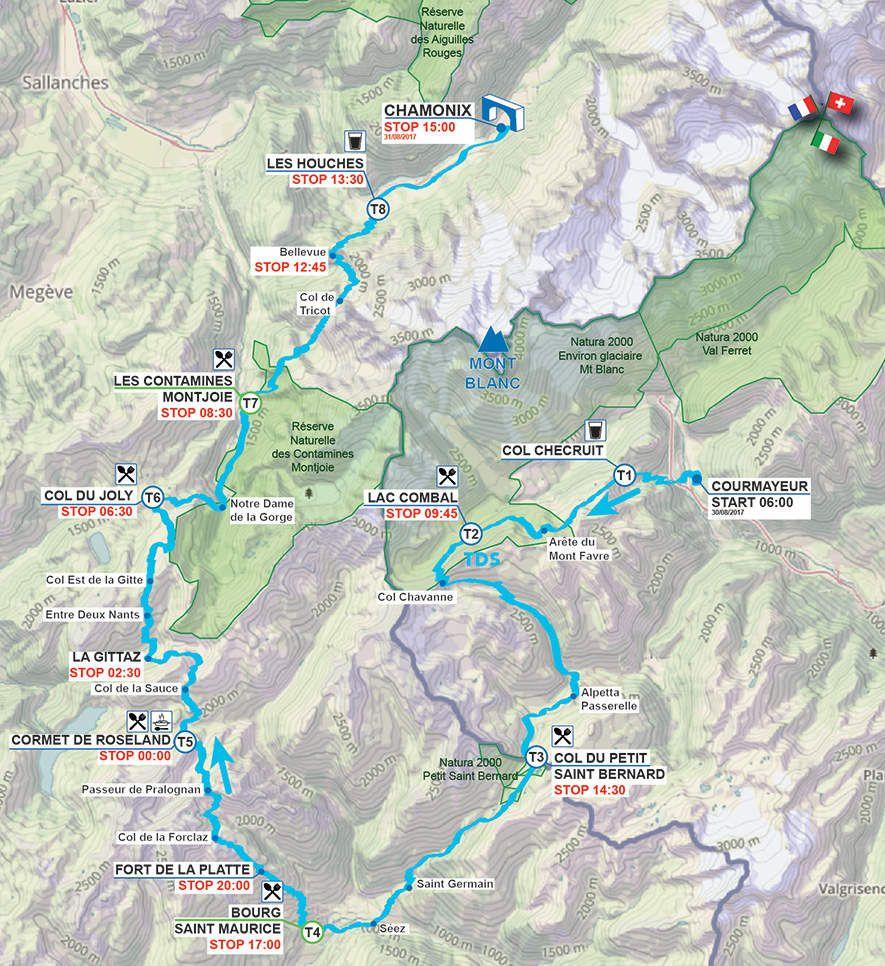 Le tracé détaillé du parcours de la TDS 2017