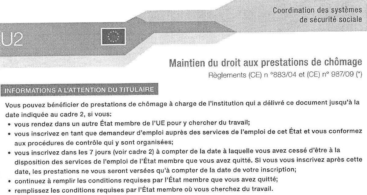 Formulaire U2 retour en France (document portable U2 / imprimé U2)