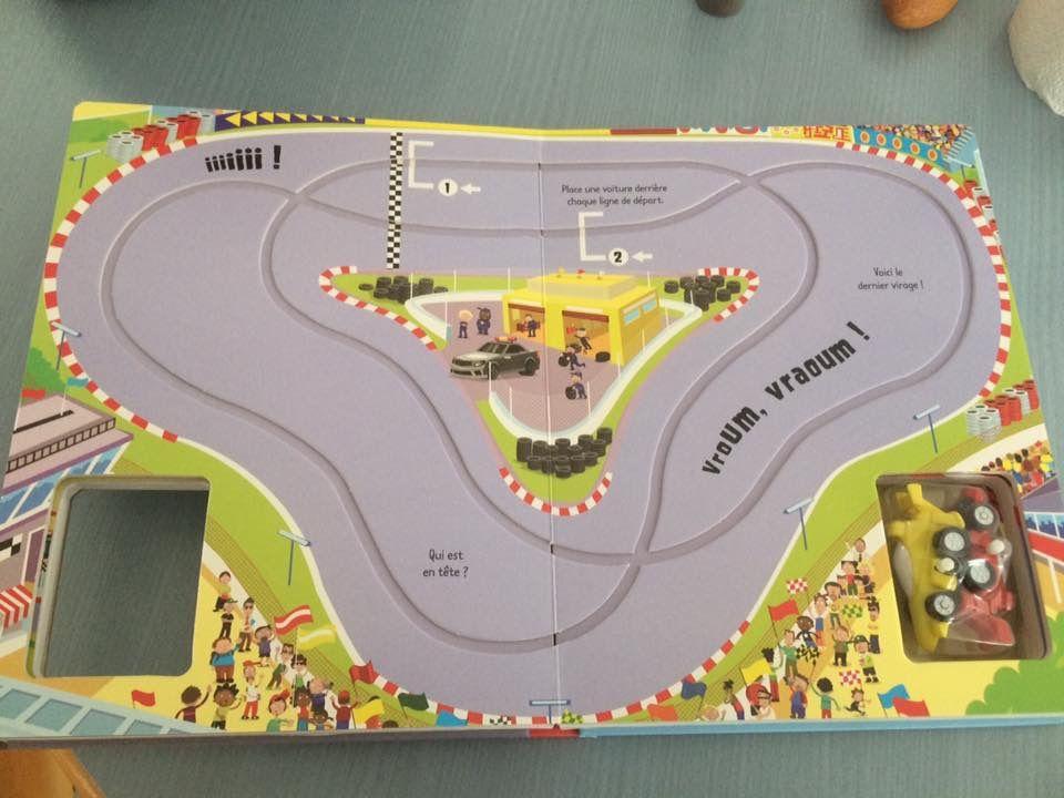 """Livre interactif Les voitures de courses """"Éditions Usborne"""""""