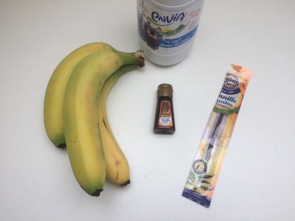 Glaces bananes/fraises, bananes/vanille et bananes/chocolat