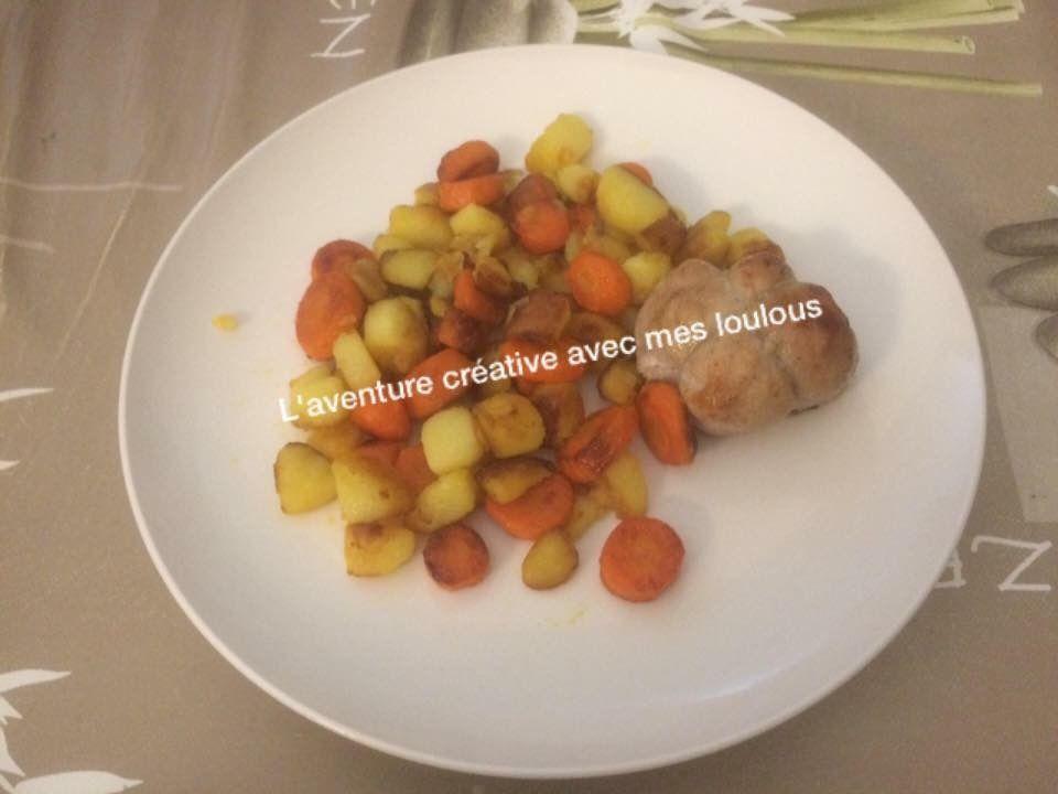 Paupiettes avec des légumes cuits à la poêle