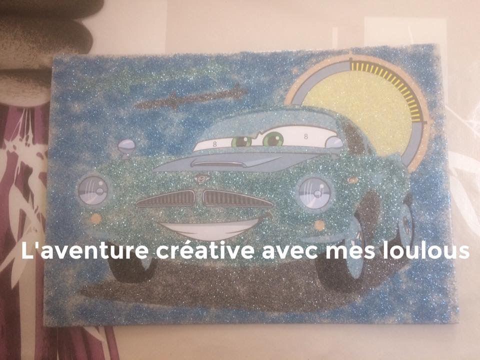 Carte d'art à paillettes Cars