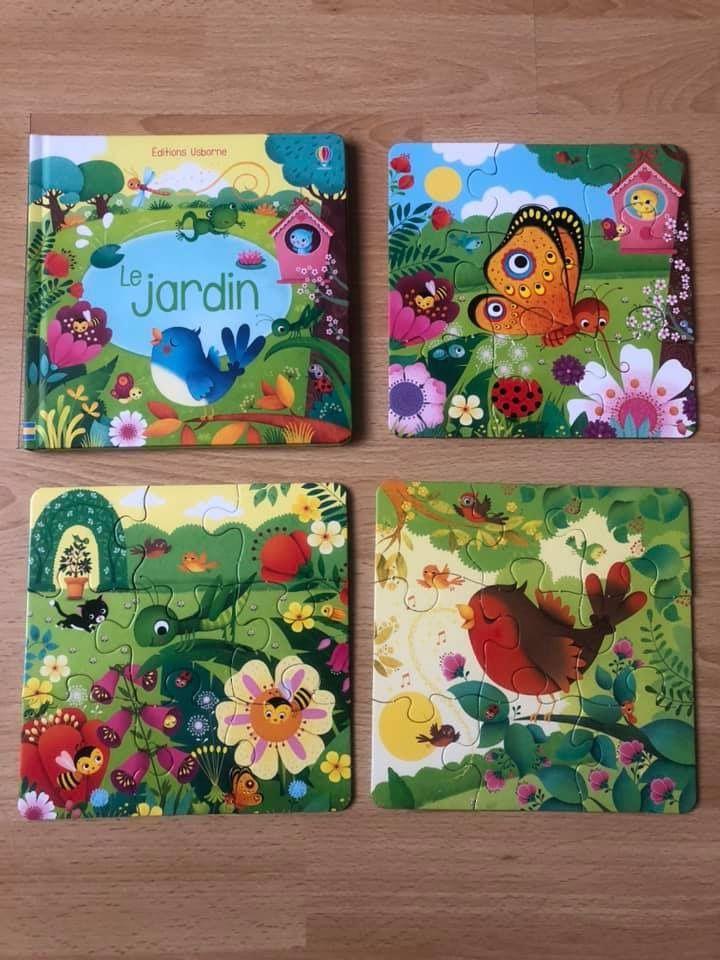Mon petit coffret Livre et 3 puzzles Le jardin Usborne