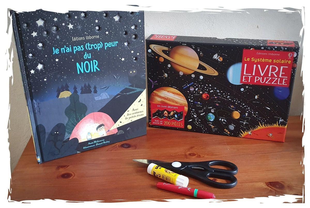 Je n'ai pas (trop) peur du noir et Coffret puzzle le système solaire , Editions Usborne