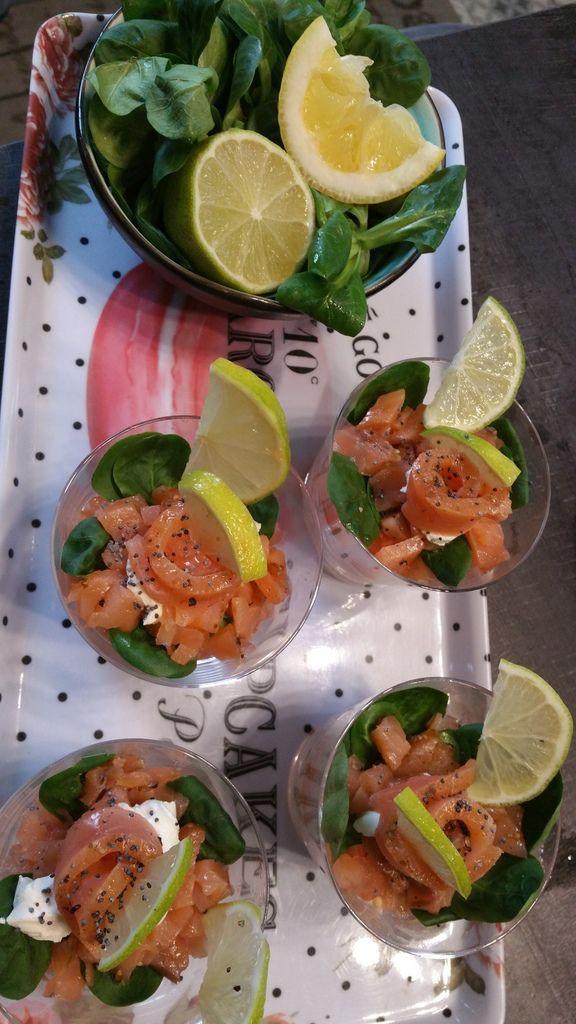 Verrines fraîcheur aux 2 saumons