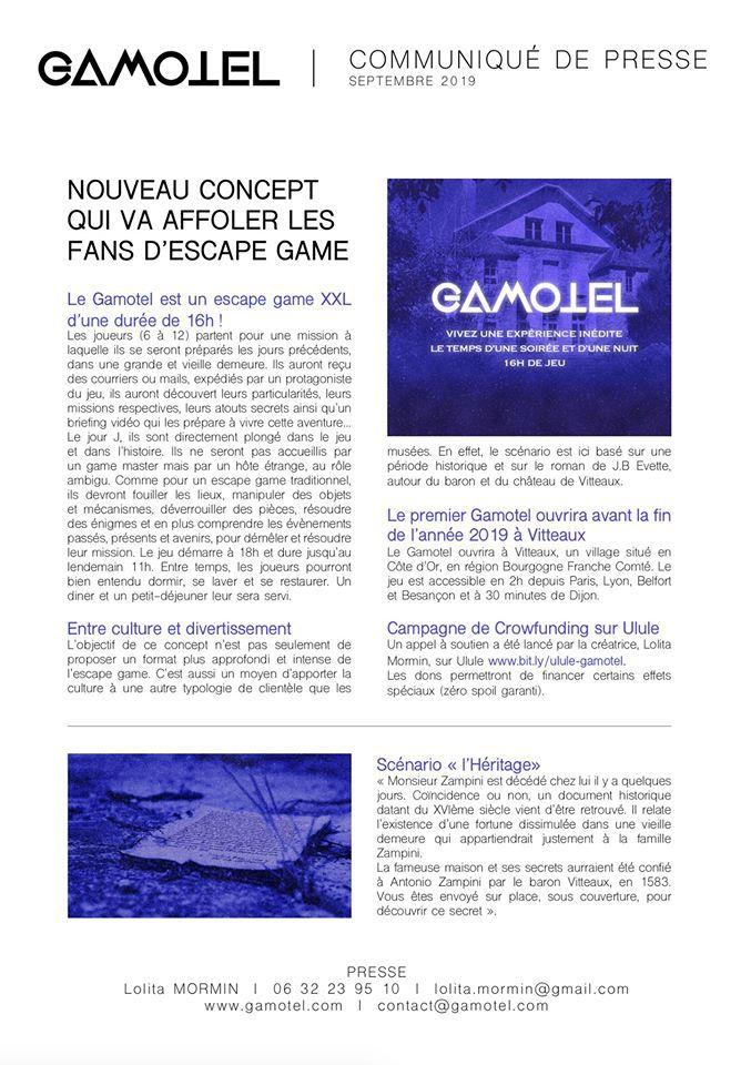 GAMOTEL - Nouveau concept d'Escape Game, version XXL, le temps d'un week-end en Bourgogne