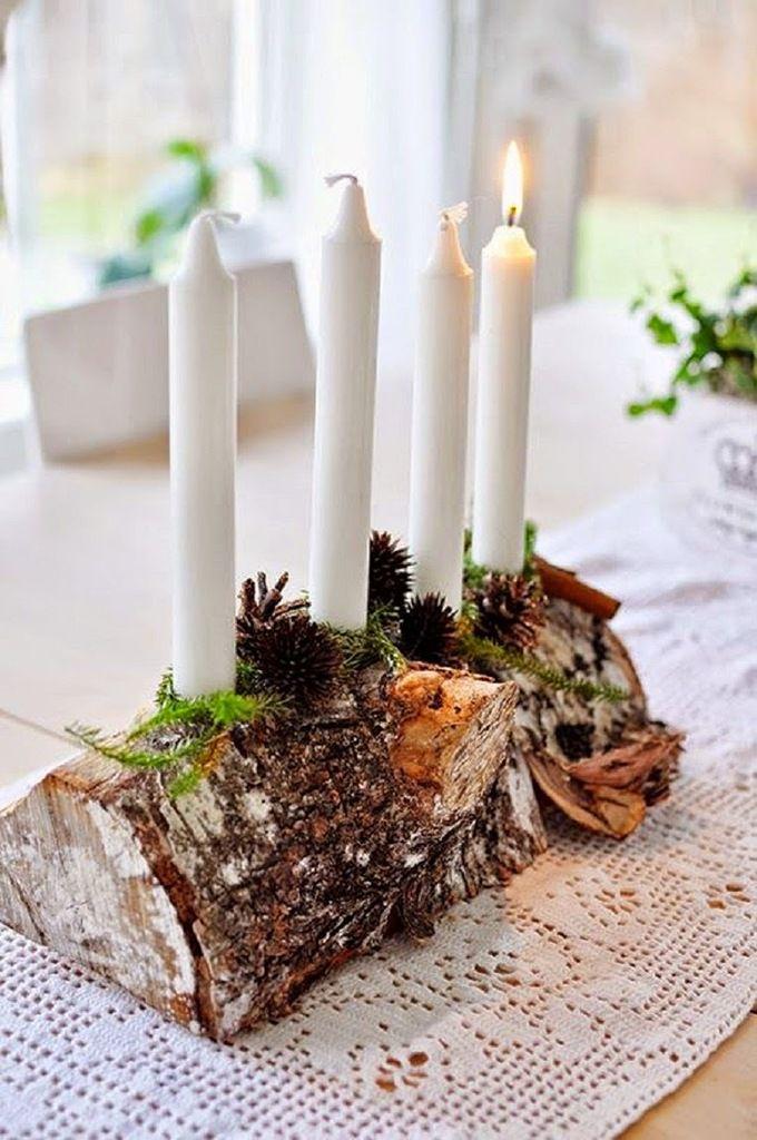 Bûche porte-bougies >