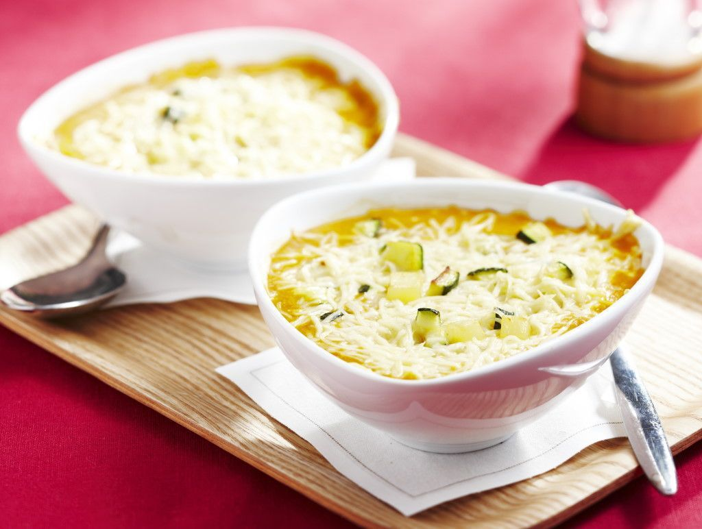 Soupe de carottes et courgettes gratinée >