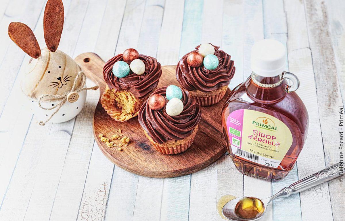 Cupcakes nid de Pâques, ganache choco et sirop d'érable