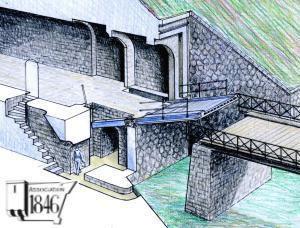 Pont-levis à bascule en dessous du réduit de Landaoudec à Crozon