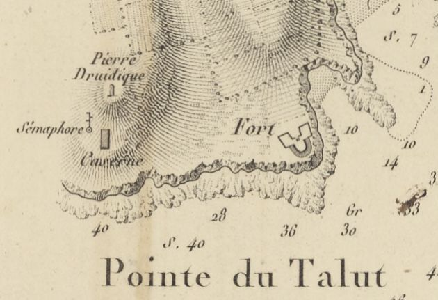 La pointe du Talud sur la carte de Beautemps-Beaupré, 1819 (BNF)