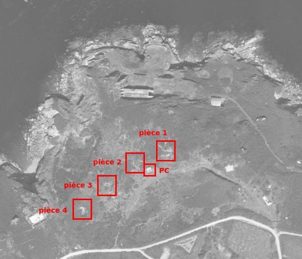 La batterie de 75 mm du fort Robert en 1951 (© IGN)