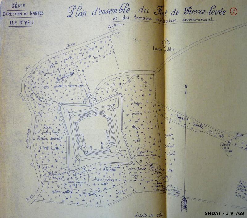 Plan du fort central de l'île d'Yeu avec mention des plantations sur ses glacis (© Service historique de la Défense)