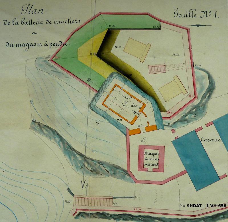 Projet de la batterie de mortiers et du magasin à poudre souterrain en 1868 (© Service historique de la Défense)