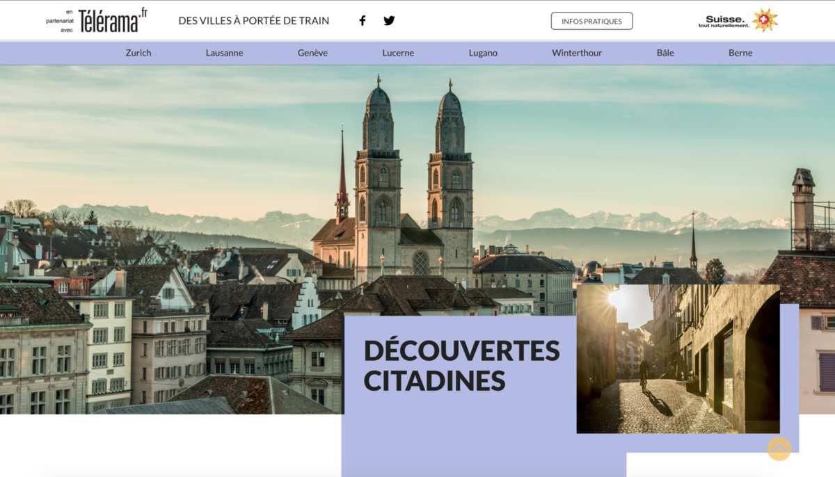 CAMPAGNE DE PUBLICITE WEB pour l'Office du Tourisme de Suisse et TELERAMA
