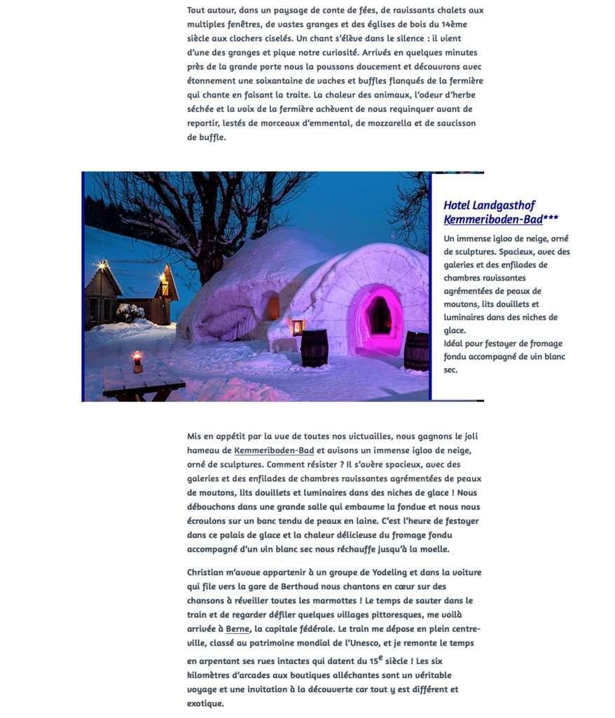 HUFFINGTON POST: 4 ARTICLES LIFESTYLE & GASTRONOMIE @SUISSE