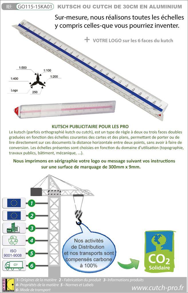 Kutch aluminium triangulaire de 30 cm avec une impression des échelles sur mesure - Kutch publicitaire