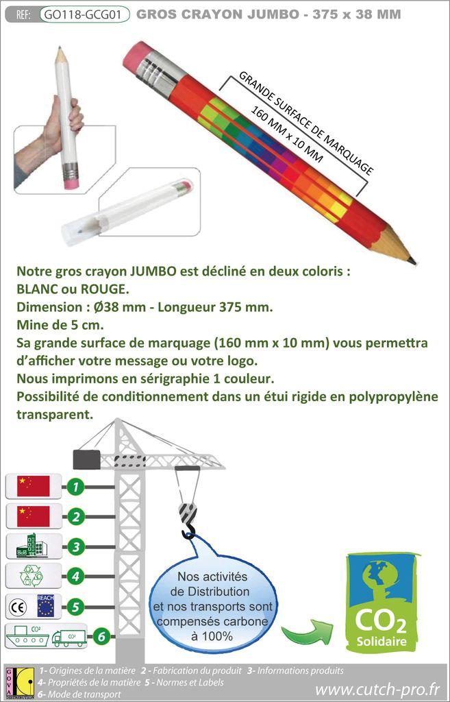 Gros crayon publicitaire JUMBO de 375 mm de longueur et 38 mm de diamètre