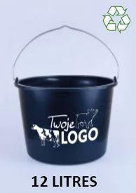 Seau professionnel de 12 litres en plastique recycle noir