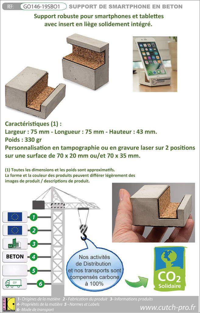 Support de smartphone ou tablette fabriqué en béton - idéal pour les activités dans le bâtiment