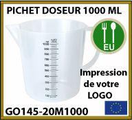 Pichet doseur à bec professionnel de 1 litre personnalisé - GO145-20M1000