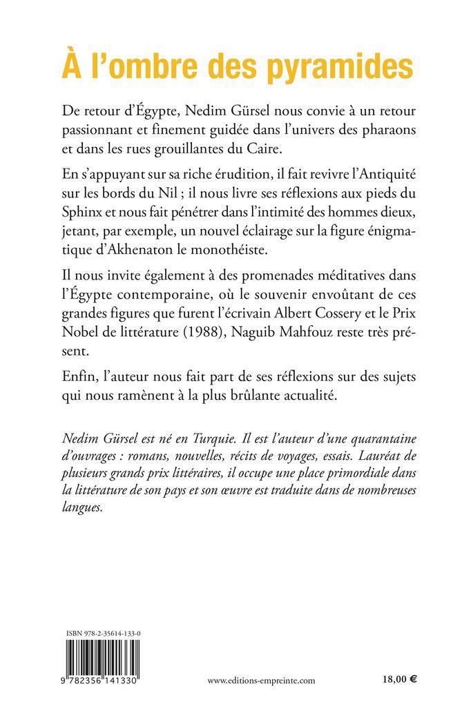 Mon dernier essai : À l'ombre des pyramides, éditions Empreinte-Temps présent, mai 2019.