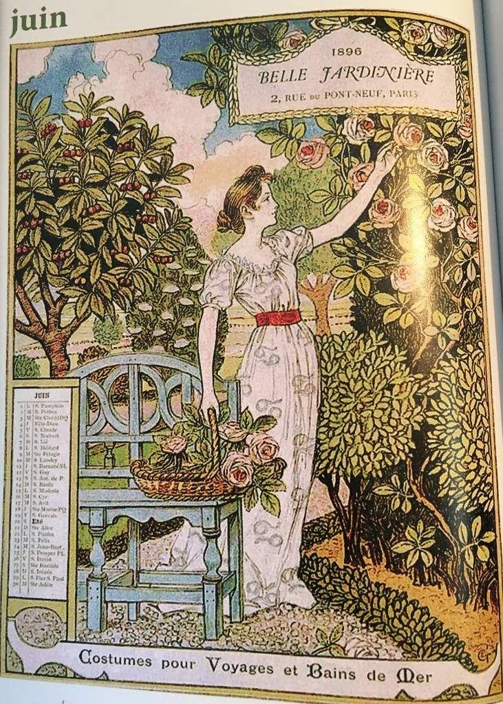 """Calendrier """" Belle jardinière """" 1896"""