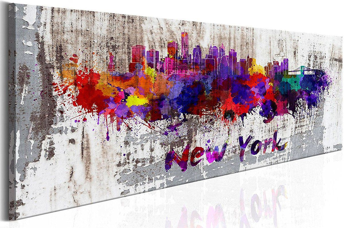 Tableau panoramique abstrait new york city 120x40 cm - Tableau de new york ...