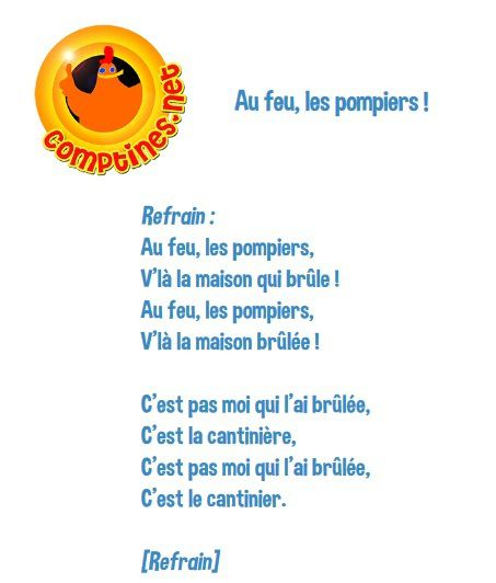 Exemple de Paroles de comptine - par Comptines.net