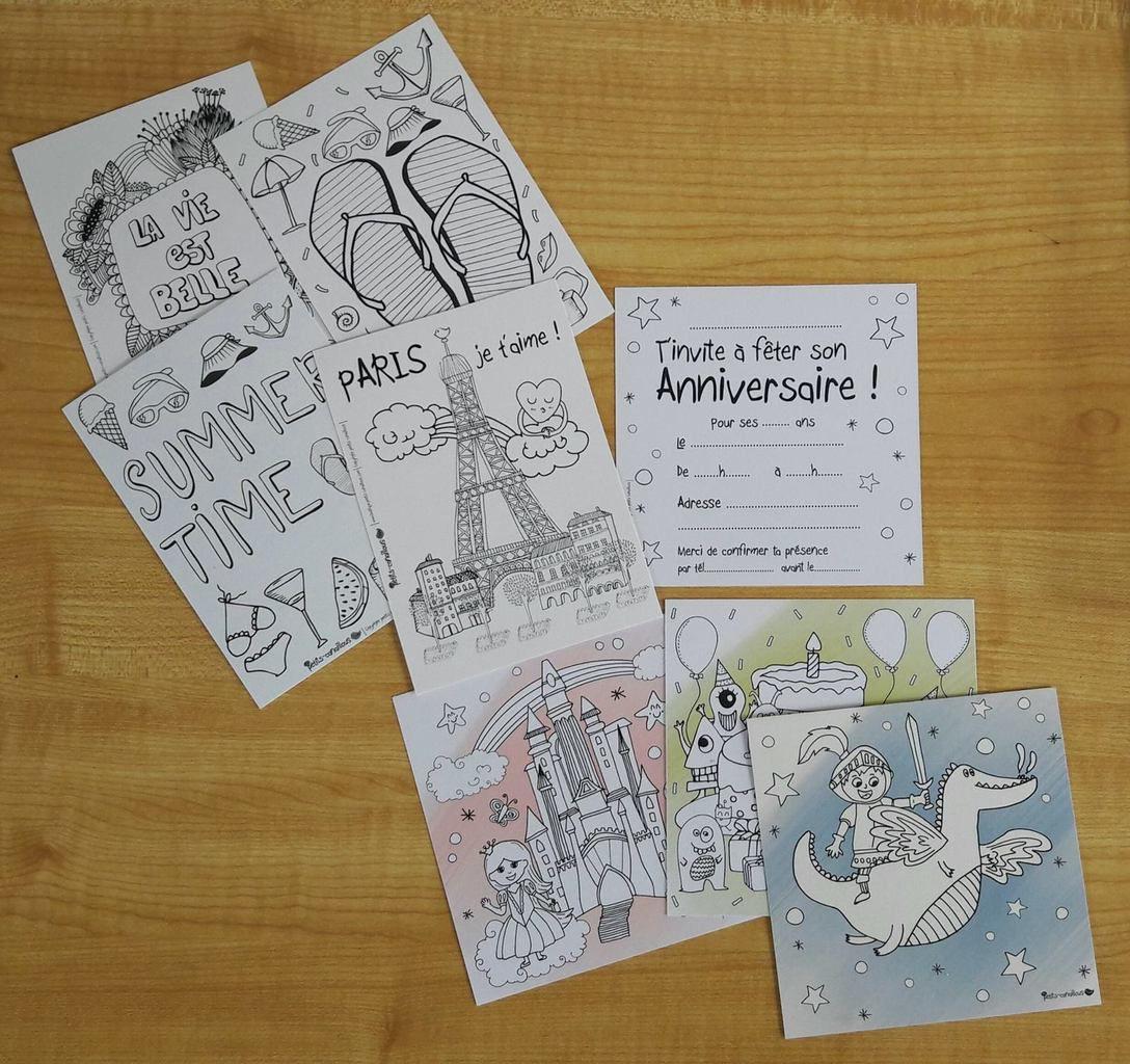 Cartes à colorier : cartes de vacances et d'invitations
