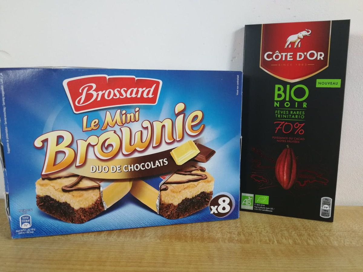 Mini Brownies Duo Chocolat par Brossard et chocolat bio Cote d'or