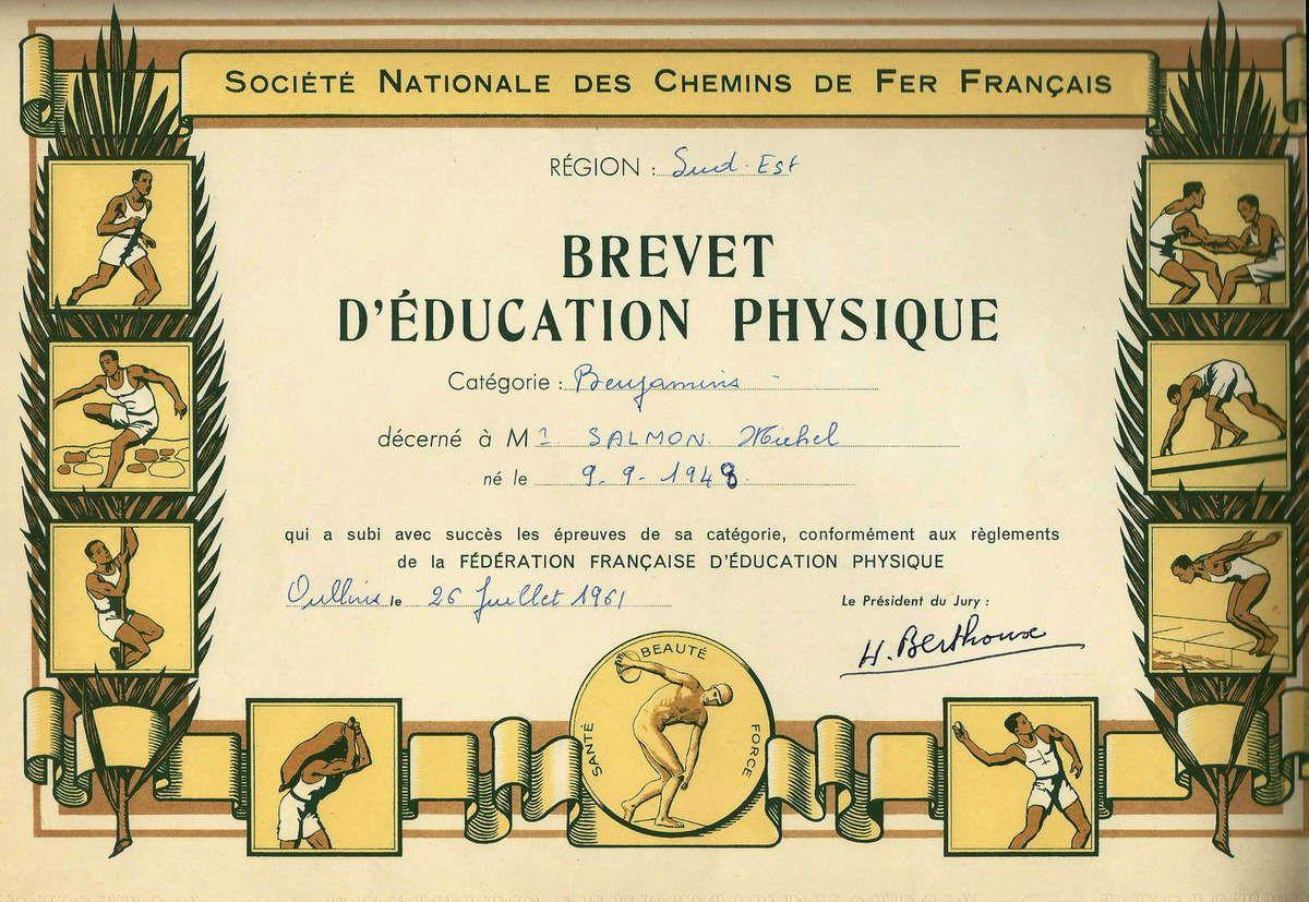 SNCF - Brevet d'éducation physique 1961