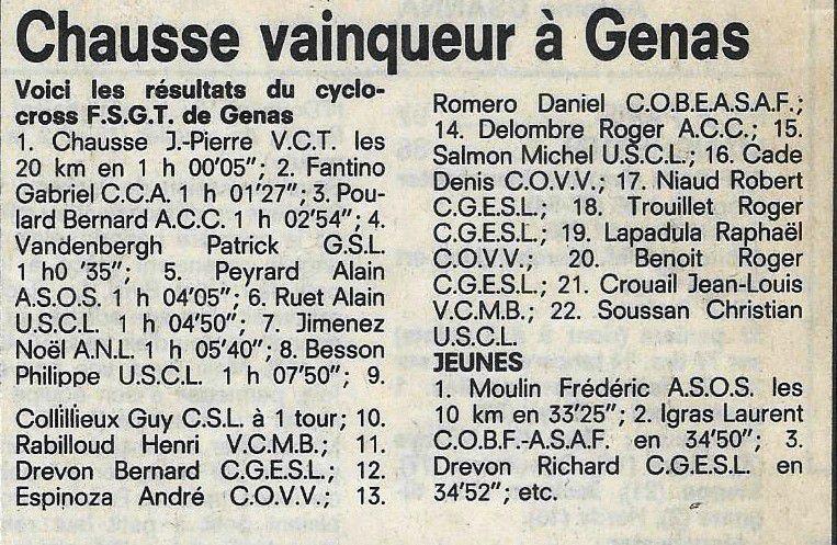 3 ème édition du cyclo-cross de Genas - Décembre 1987