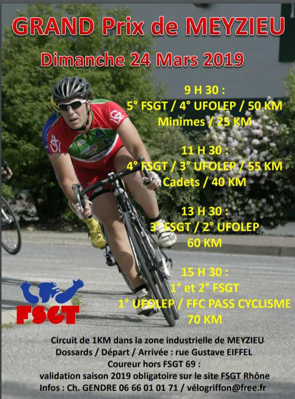 3ème Grand Prix de Meyzieu - Affiche du Vélo Griffon Meyzieu