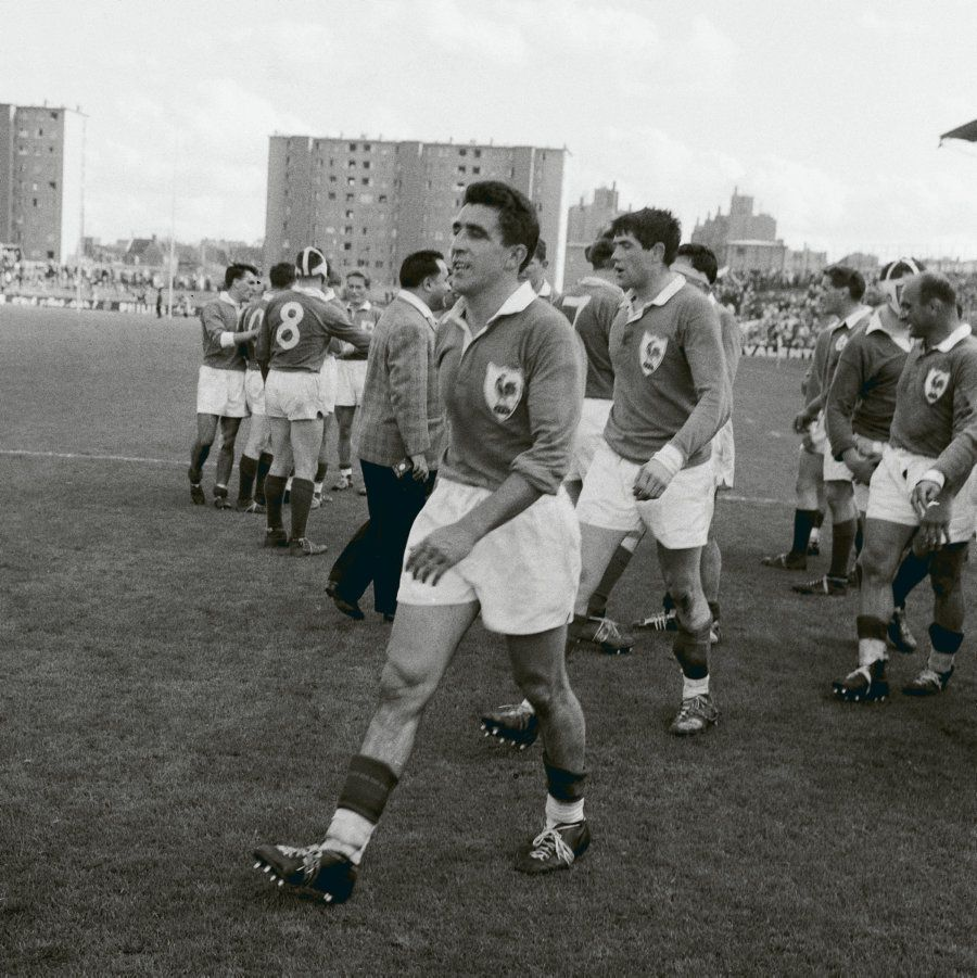François Moncla, le 9 avril 1960, à Colombes, Tournoi des cinq nations France-Irlande - Photo du journal l'Humanité