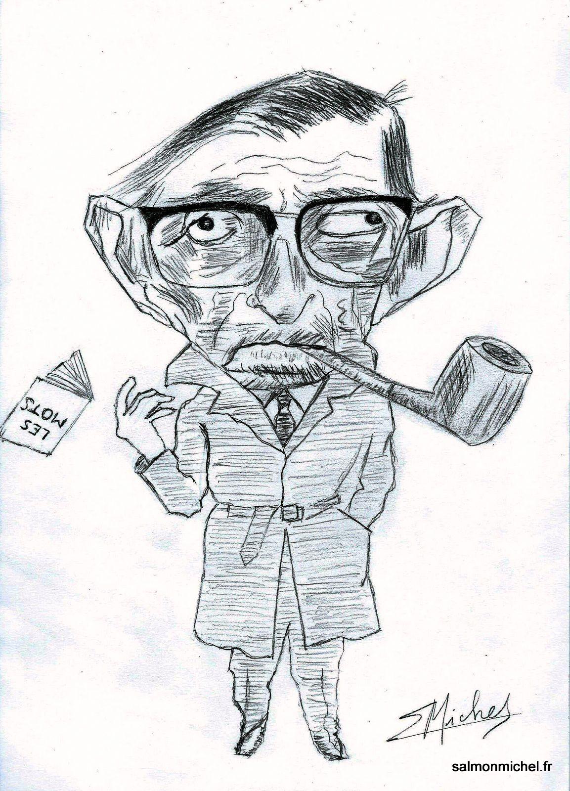 """Jean-Paul SARTRE - D'après le dessin de David Levine en couverture du livre """"Les mots"""" édition folio - Livre offert par le réseau TOTAL"""