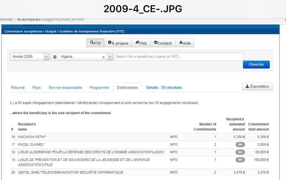 Captures d'écrans de 39 documents sur les financements étrangers d'associations et d'entreprises algériennes.