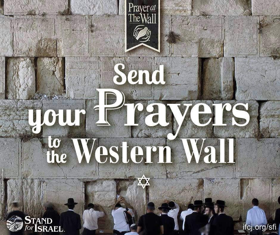 Don't miss out on your opportunity to have your prayer requests taken to the Western Wall for you!   Visit here to share your prayer request: http://bit.ly/2bdBgmW