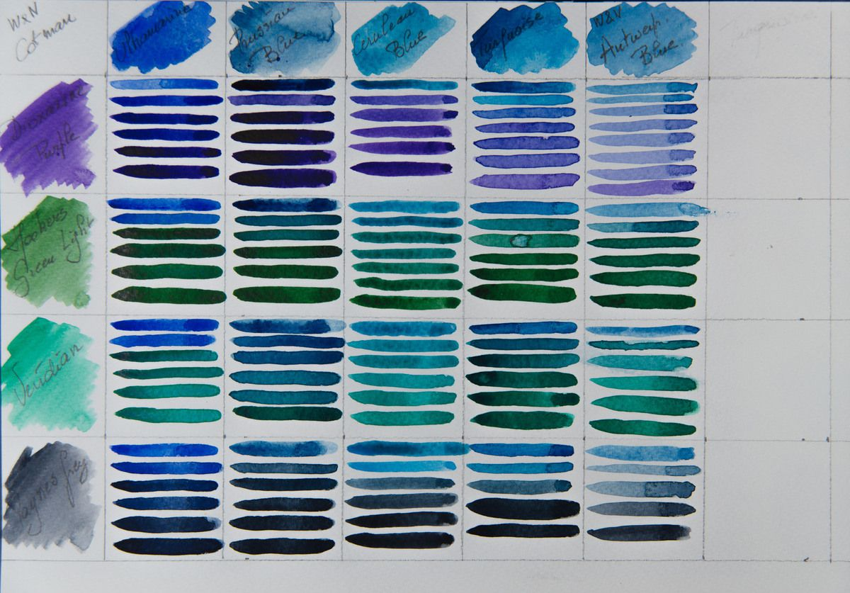 Nuancier des Couleurs Aquarelle en tubes de  Cotman by Winsor & Newton