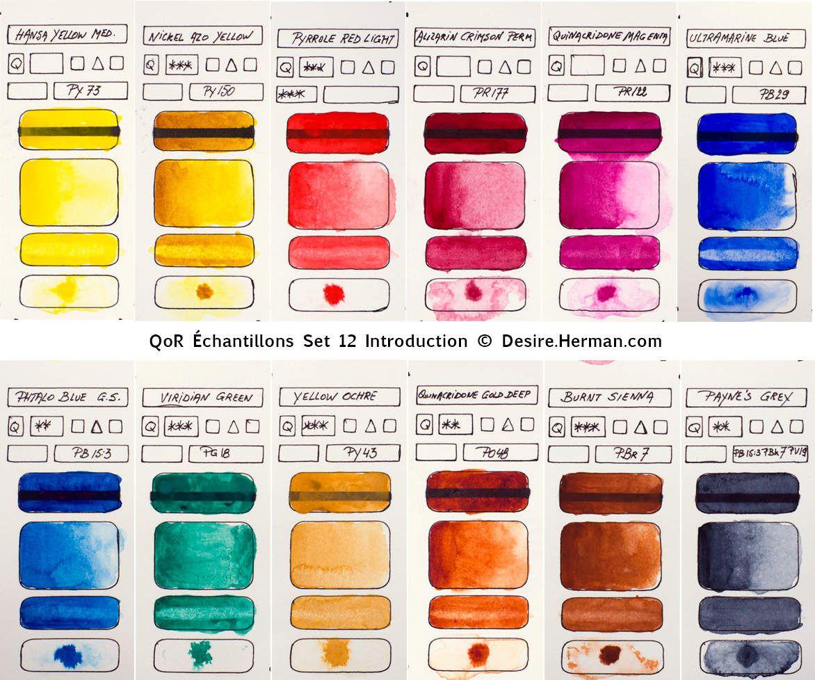 Echantillons des 12 couleurs QoR