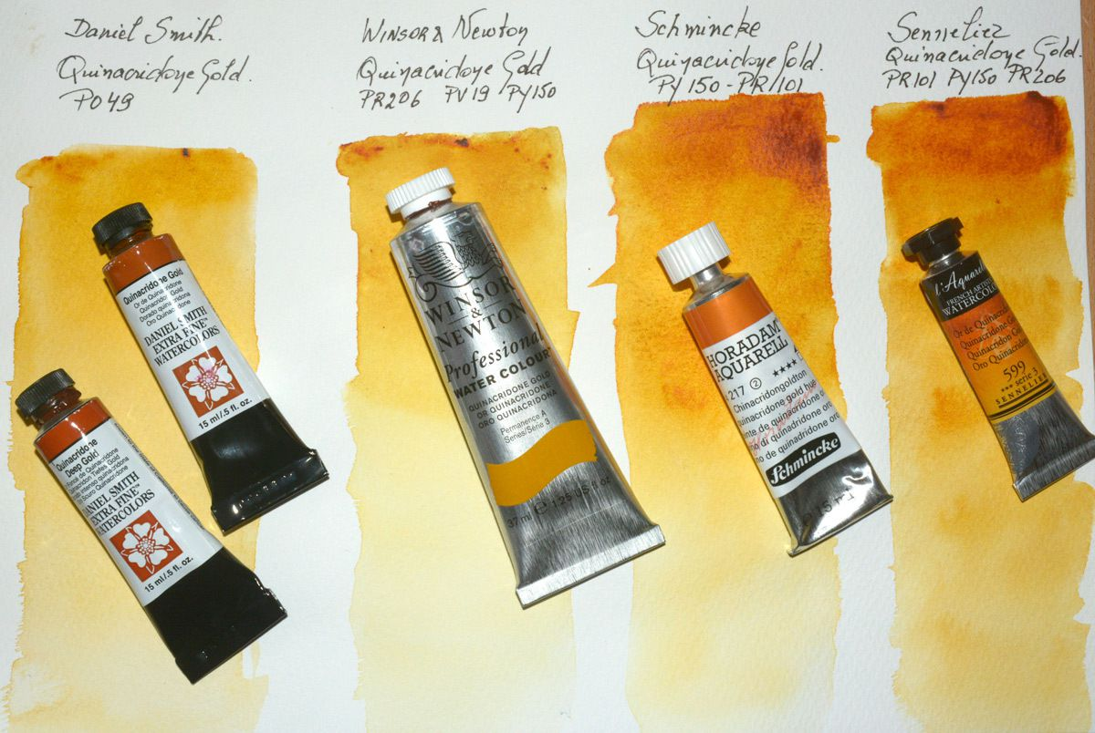 The different Quinacridones Gold i tested  Winsor & Newton Daniel Smith Sennelier et Schmincke