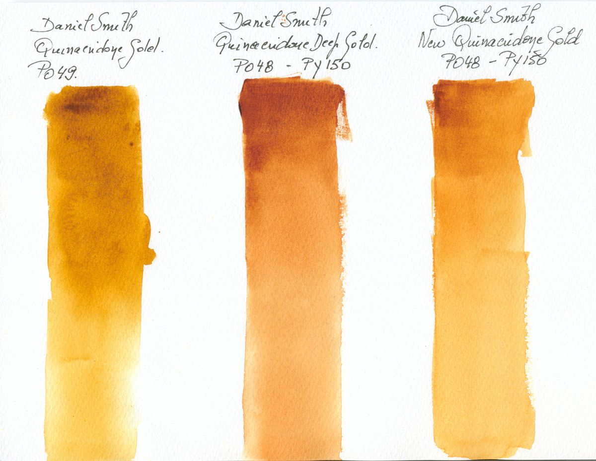 3 Different Quinacridone Gold Watercolour Paints by Daniel Smith