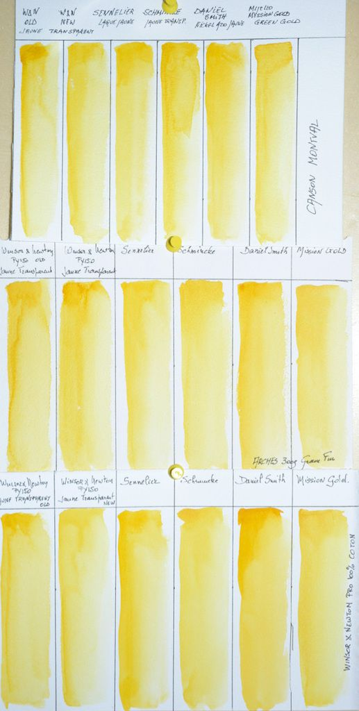 Winsor & Newton Transparent Yellow Swatches on Winsor & Newton 100% Coton Professional, Arches NOT and Canson Montval