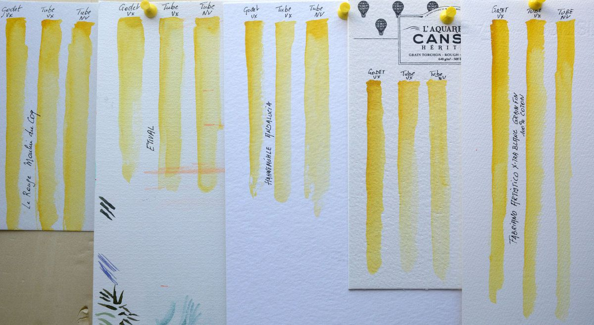 Winsor & Newton Transparent Yellow Swatches on Le Rouge by Moulin du Coq, Etival, Canson Héritage 640g and Fabriano Artistico Not extra white
