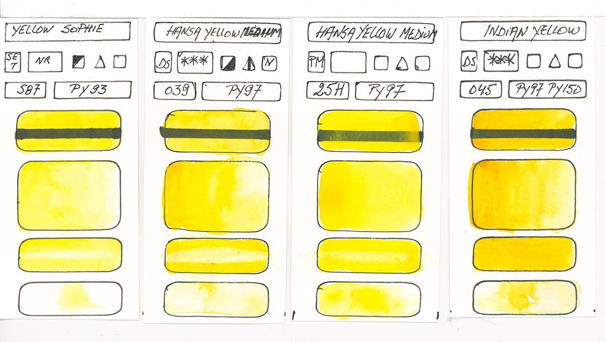 Aquarelles Jaunes composées avec le Pigment PY97 / PY93