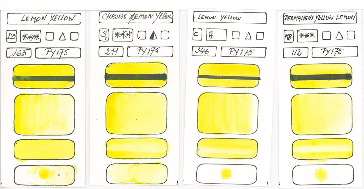 Yellow Watercolour Paint swatches based on pigment PY175