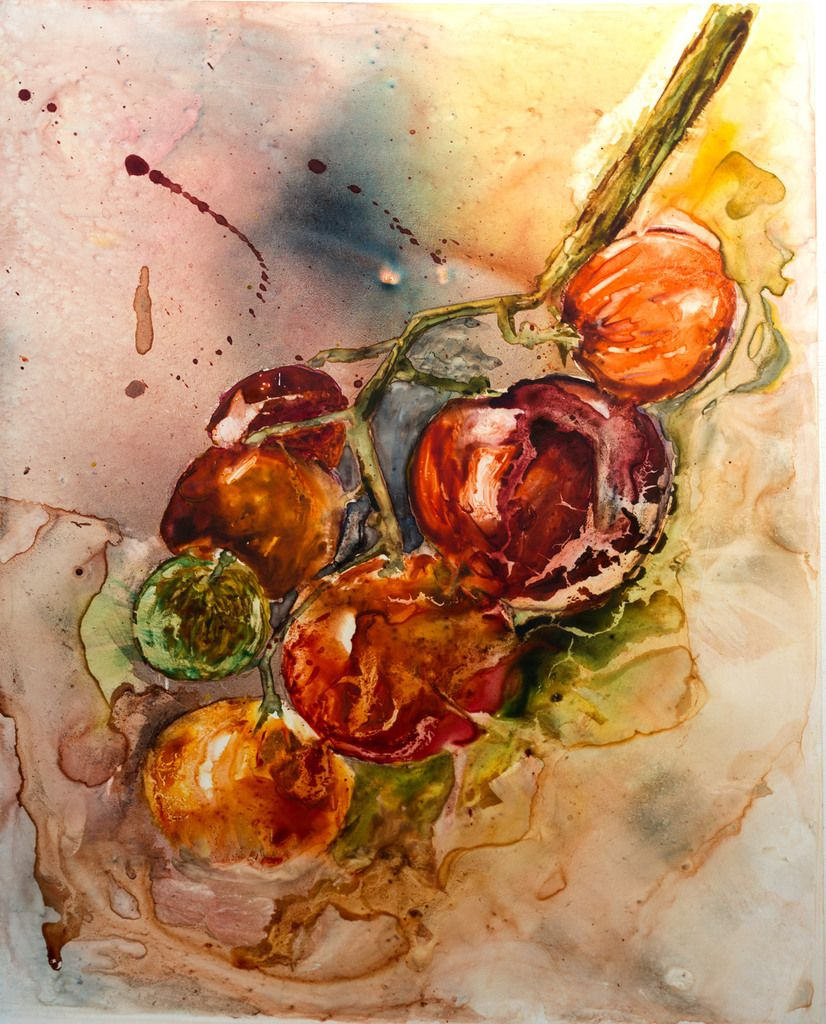 """Red & Green Tomatoes"" Isaro Watercolour Paints on Yupo Lanvanguard by Désiré Herman"
